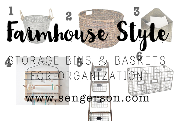 Farmhouse Style Storage: Organizing using baskets, buckets and bins