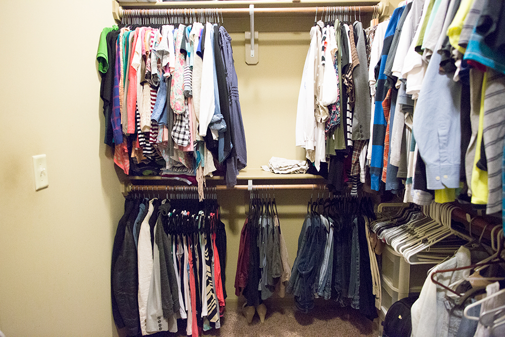 Velvet Hangers in the Closet - Before and After