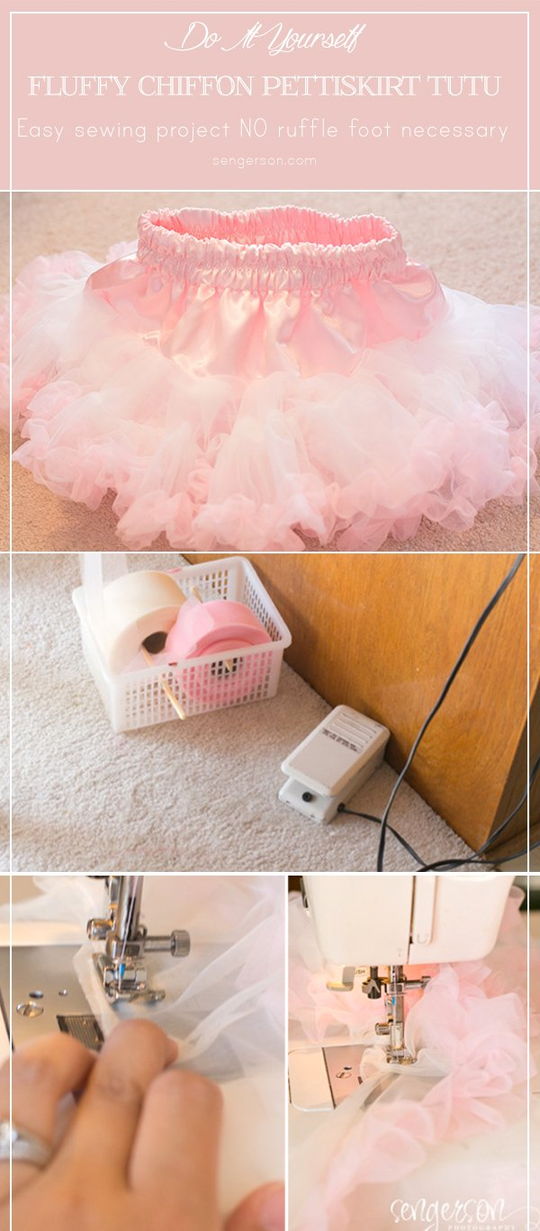 DIY chiffon pettiskirt tutu that's super easy to make. No ruffle foot needed. Great for a cake smash or dressing up! Tutorial includes easy sizing and links to where to buy all materials from sengerson.com - mom and lifestyle blogger.