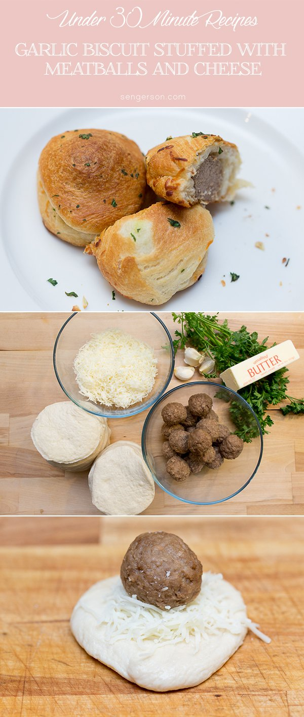 Delicious garlic stuffed biscuit with meatballs - easy appetizer.