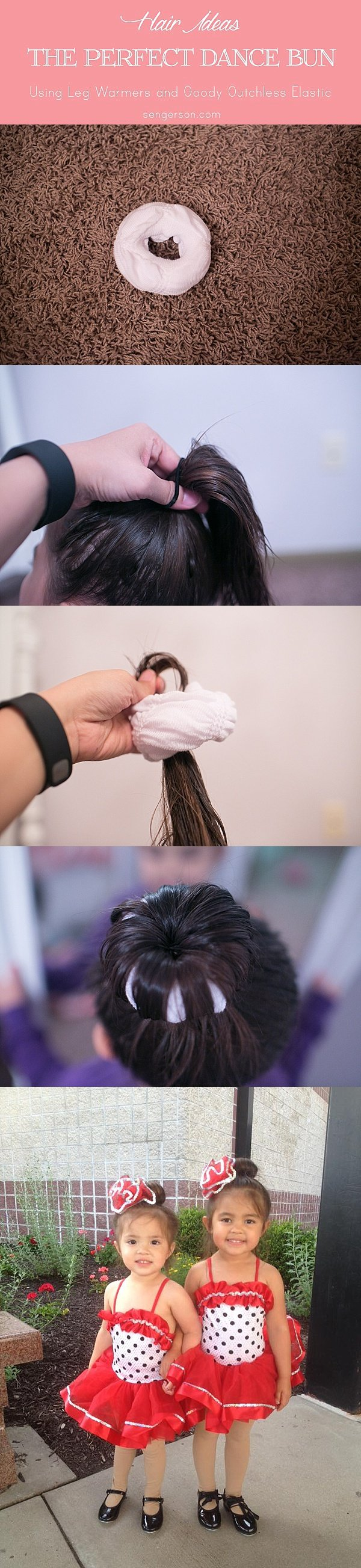 how to make the perfect hair bun for dance using leg warmers