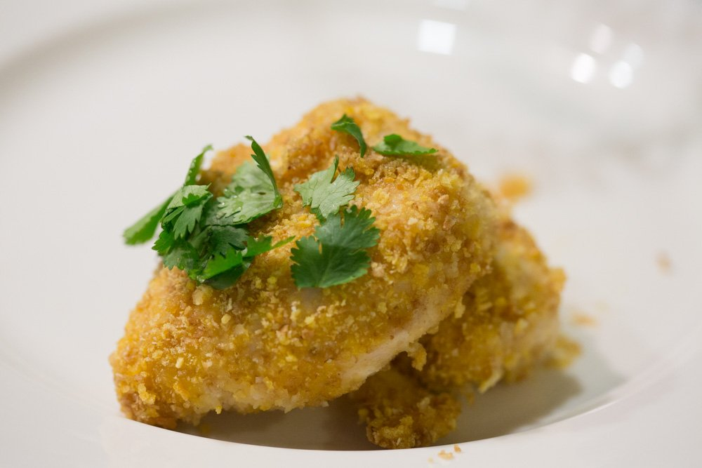 cereal breaded chicken easy honey roasted chicken bake 009