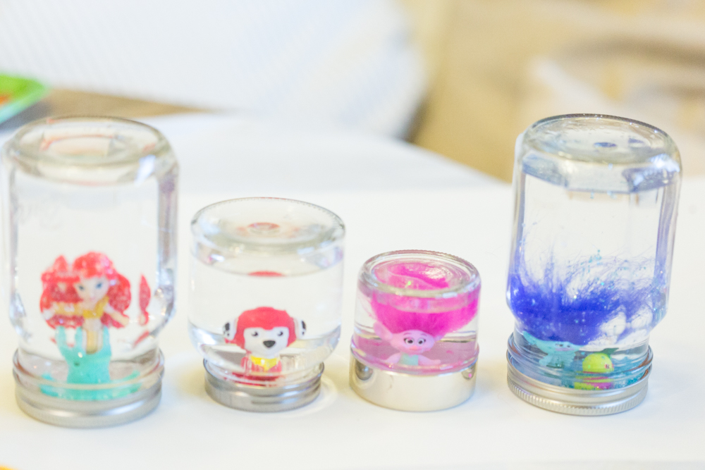Snow Globe Party Favors Using Empty Jars
